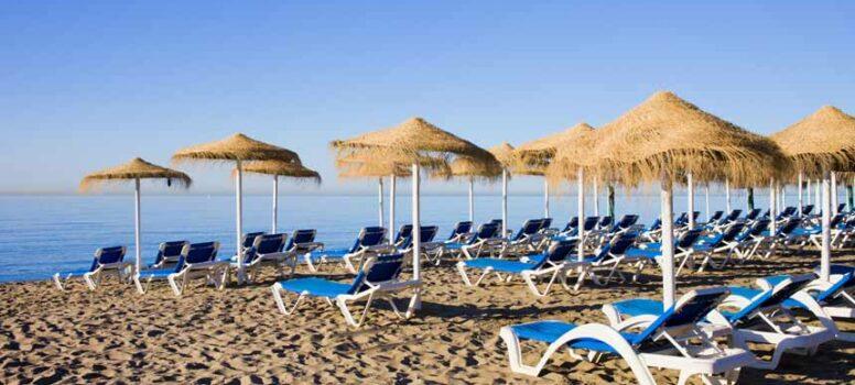 Sunbeds in Bounty beach Marbella